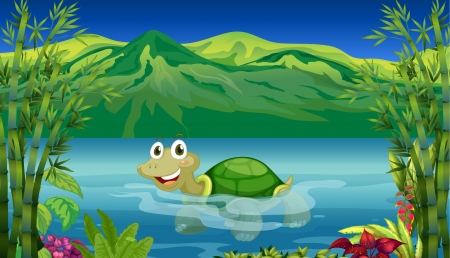 Illustration for Illustration of a turtle in the sea - Royalty Free Image