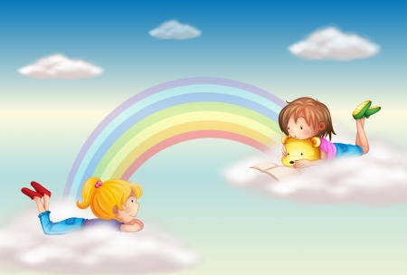 Illustration for Illustration of two girls along the rainbow - Royalty Free Image