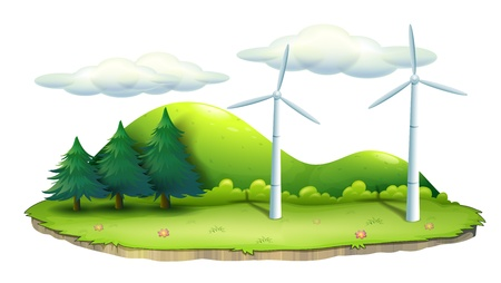 Illustration of windmills in the island on a white background