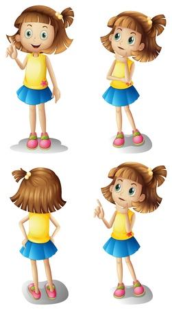 Ilustración de Illustration of the different moods of a young girl on a white background - Imagen libre de derechos