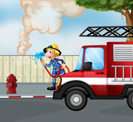 Illustration of a fireman rescuing a fire near the street