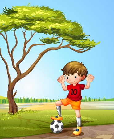 Illustration of a boy with a soccer ball