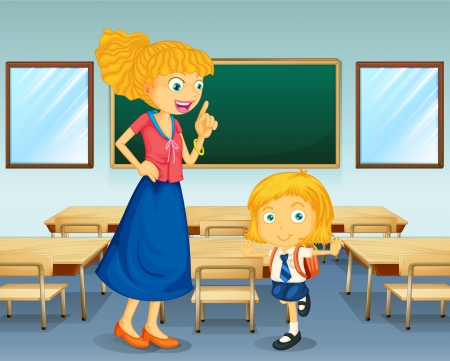 Illustration for Illustration of a teacher and a student - Royalty Free Image