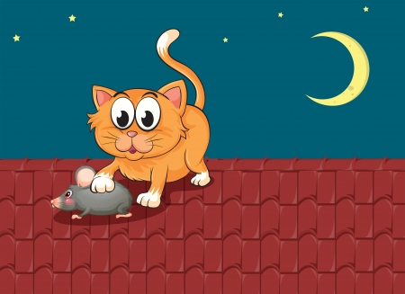 Illustration of a cat and a rat at the rooftop