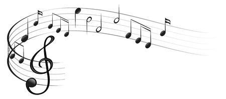Illustration of the symbols of music on a white background