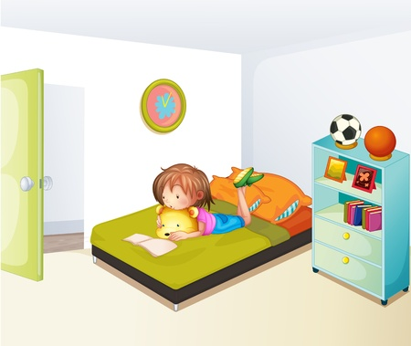 Illustration of a girl studying in her clean bedroom