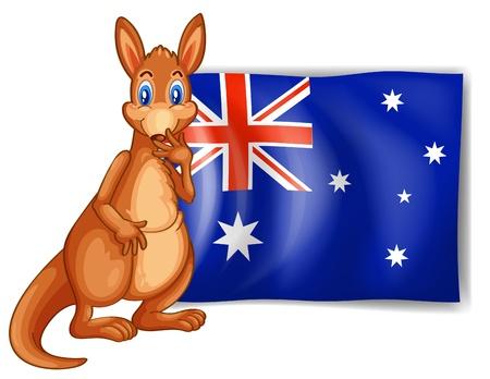 Vektor für Illustration of a kangaroo beside an Australian flag on white background - Lizenzfreies Bild