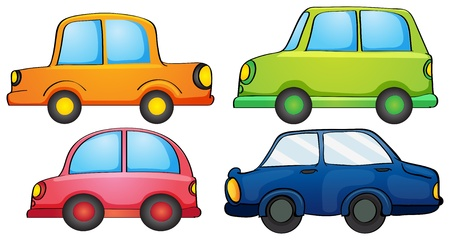 Illustration of the different colors of a car on a white background