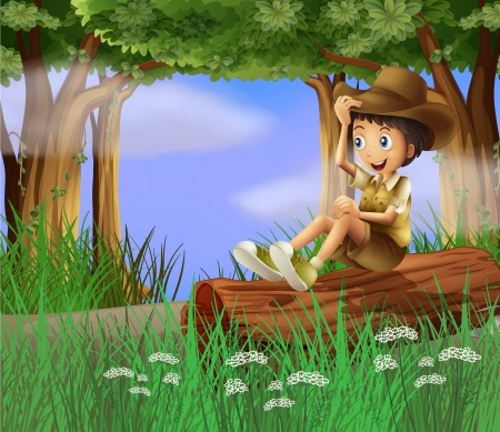 Illustration of a young boy with a hat sitting at the trunk