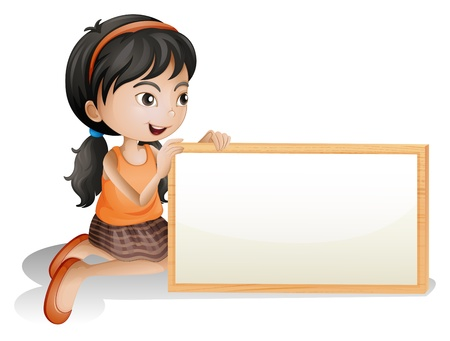 Illustration of a little girl holding a blank signboard on a white background