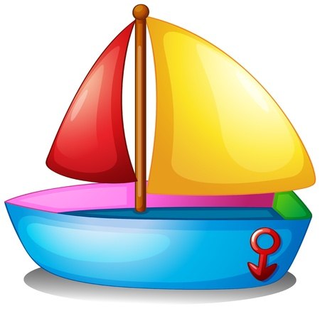 Illustration of a colorful boat on a white background