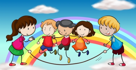 Illustration of the five kids playing in front of a rainbow