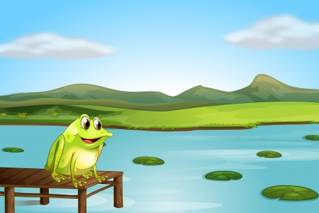 Illustration of a frog above the wooden bridge
