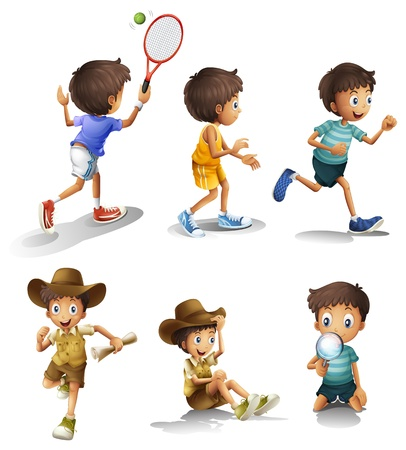 Illustration of the boys with different activities on a white background