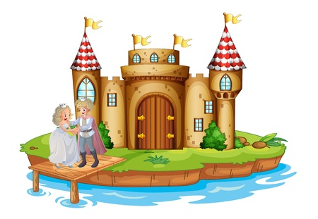 Illustration for Illustration of a prince and a princess at the wooden bridge near the castle on a white background - Royalty Free Image