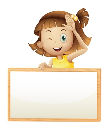Illustration of a girl blinking her eye holding an empty board on a white background