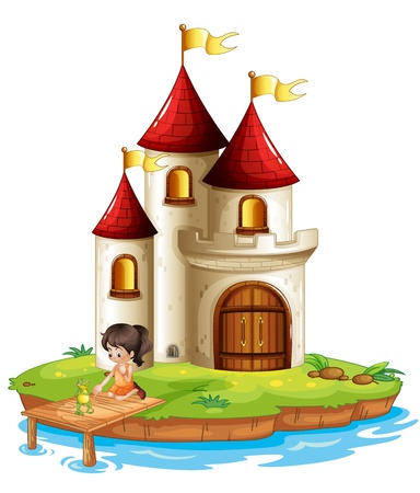 Illustration for Illustration of a girl and a frog at the bridge in front of a big castle on a white background - Royalty Free Image
