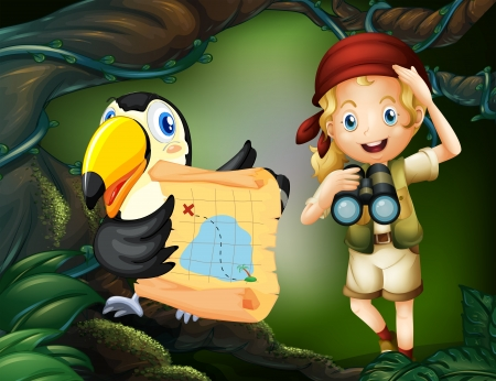 Illustration of a girl with a parrot holding a map