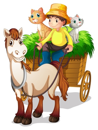 Photo for Illustration of a farmer riding in a strawcart with his farm animals on a white background - Royalty Free Image