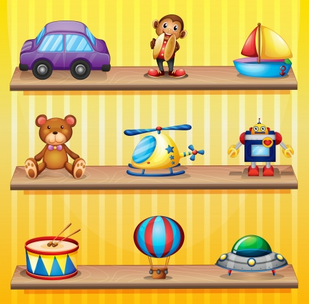 Illustration of the different toys arranged at the wooden shelves