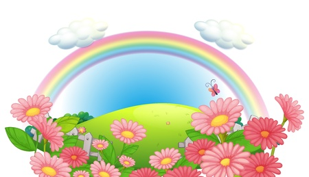 Illustration of a rainbow and a garden of flowers at the hills on a white background