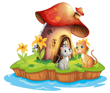 Illustration of a mushroom house with two cats on a white background