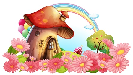 Illustration of a mushroom house with a garden of flowers on a white background