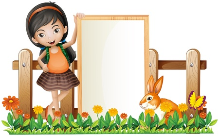 Illustration of a girl standing beside an empty frame with a bunny on a white background