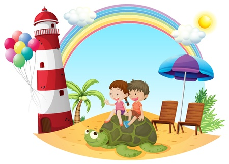 Illustration pour Illustration of the kids playing with the turtle at the seashore on a white background - image libre de droit