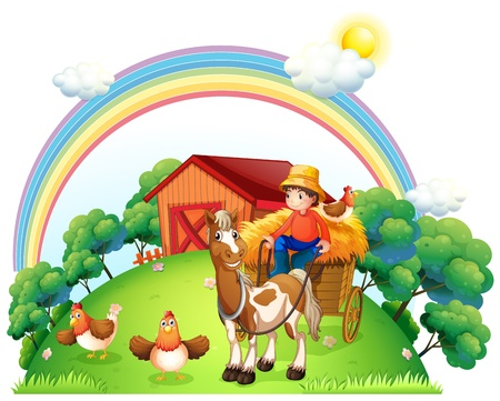 Illustration of a boy riding in his farm cart on a white background