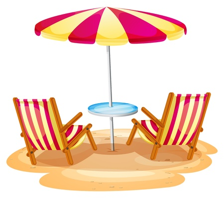 Illustration pour Illustration of a stripe beach umbrella and the two wooden chairs on a white background - image libre de droit