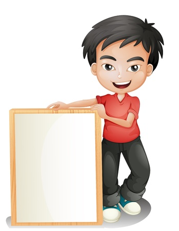 Illustration of a boy holding an empty framed board on a white background