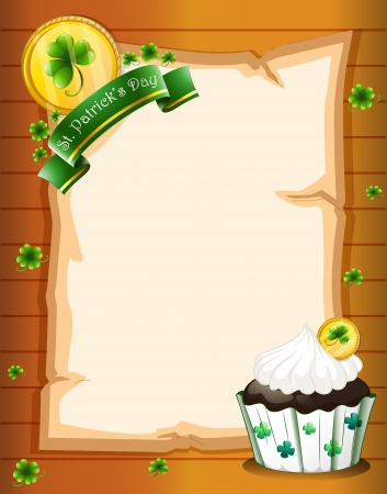 Illustration of a blank paper with a St. Patrick's Day greeting and a cupcake