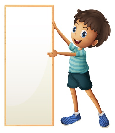 Illustration of a boy holding a blank framed board