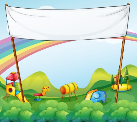 Illustration of a white banner at the park