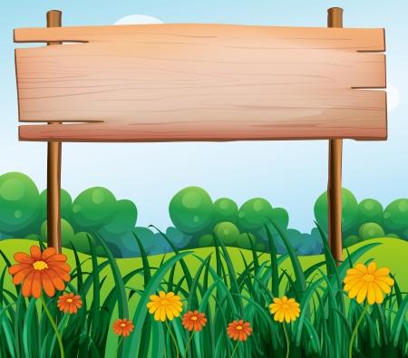 Illustration pour Illustration of a wooden signboard in the garden - image libre de droit