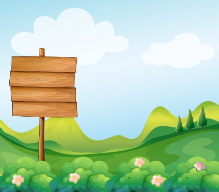 Illustration of a wooden signboard in the hill