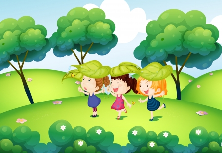 Illustration of the kids playing with the leaves at the hills