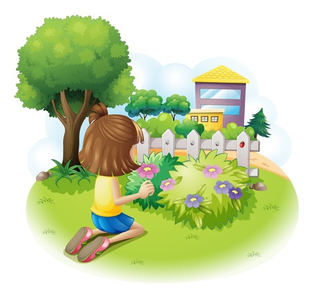 Illustration of a girl picking flowers on a white background