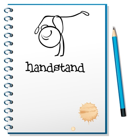Illustration of a notebook with a sketch of a person doing a handstand on a white background