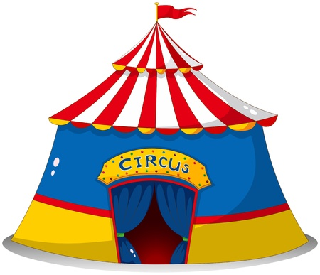 Illustration of a colorful circus tent on a white background