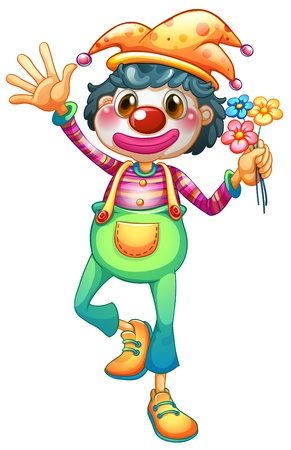 Illustration of a female clown with three flowers on a white background