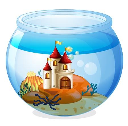 Illustration pour Illustration of an aquarium with a castle on a white background - image libre de droit