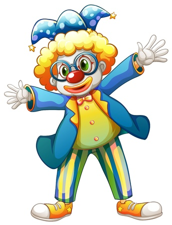 Illustration of a clown with a colorful costume on a white background