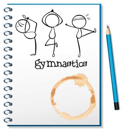 Illustration of a notebook with a sketch of the three gymnasts on a white background