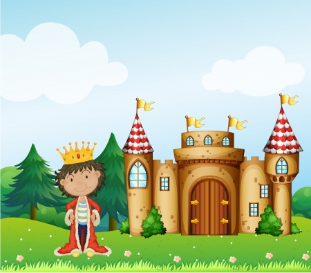 Illustration of king in front of his castle