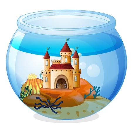 Illustration pour Illustration of a castle inside a fishbowl on a white background - image libre de droit