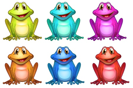 Illustration of the six different colors of frogs on a white background