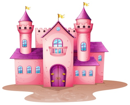Illustration of a pink colored castle