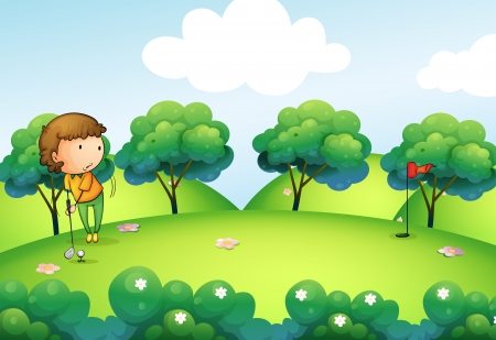 Illustration of a girl playing golf at the top of the hill